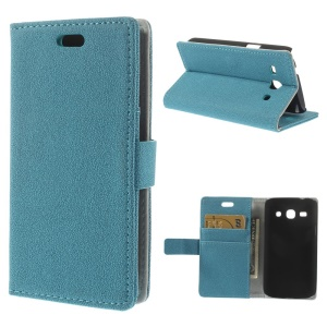 Blue Pebble Grain Magnetic Leather Stand Cover for Samsung Galaxy Star 2 Plus SM-G350E