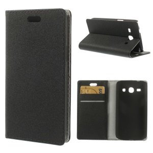 Sand-like Texture Leather Stand Case for Samsung Galaxy Star 2 Plus SM-G350E - Black