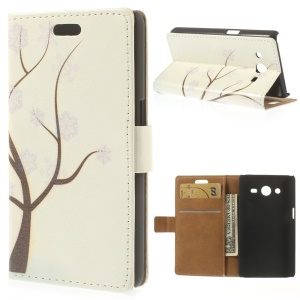 Leather Stand Wallet Shell for Samsung Galaxy Core II Dual SIM G355H - Snowflake Tree Illustration
