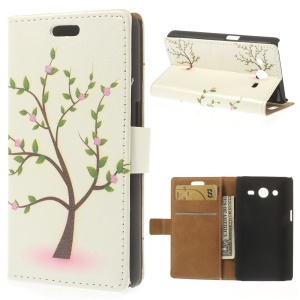 Leather Stand Wallet Case for Samsung Galaxy Core II Dual SIM G355H - Pink Floret Tree Illustration