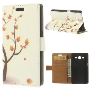 Leather Stand Wallet Case for Samsung Galaxy Core II Dual SIM G355H - Maple Tree Illustration