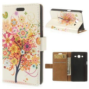 Leather Stand Wallet Case for Samsung Galaxy Core II Dual SIM G355H - Colorful Tree & Butterfly Illustration