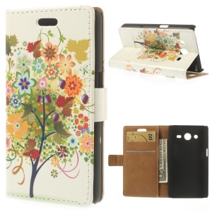 Leather Stand Wallet Case for Samsung Galaxy Core II Dual SIM G355H - Colorful Tree & Fruit Illustration