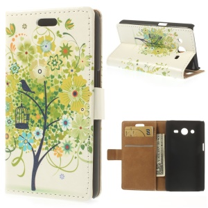 Leather Stand Wallet Cover for Samsung Galaxy Core II Dual SIM G355H - Green Tree & Bird Illustration