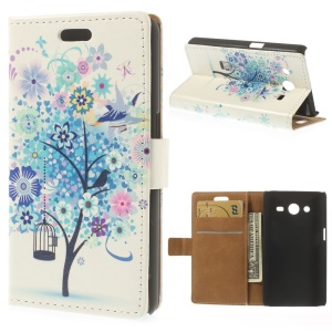 Leather Stand Wallet Cover for Samsung Galaxy Core II Dual SIM G355H - Blue Tree & Bird Illustration