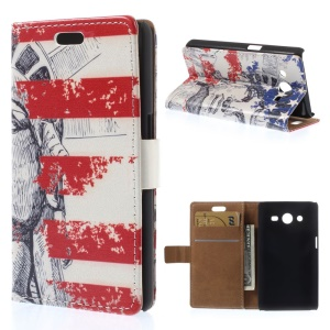 For Samsung Galaxy Core 2 Dual SIM G355H Leather Flip Wallet Case - The State of Liberty & US Flag