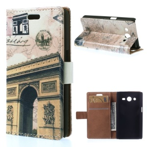 For Samsung Galaxy Core 2 Dual SIM G355H PU Leather Wallet Stand Case - Triumphal Arch & Map