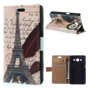 For Samsung Galaxy Core 2 Dual SIM G355H Leather Flip Wallet Stand Case - Eiffel Tower & Quill-pen