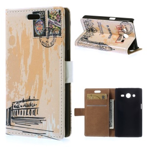 For Samsung Galaxy Core 2 Dual SIM G355H Flip Leather Wallet Cover w/ Stand - Postmark Pattern