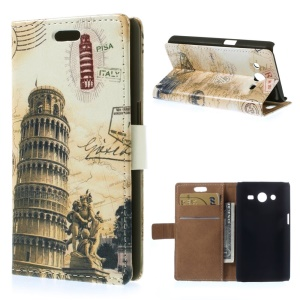 For Samsung Galaxy Core 2 Dual SIM G355H Leather Case Card Holder - Leaning Tower of Pisa & Map