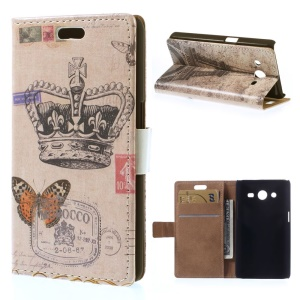 For Samsung Galaxy Core 2 Dual SIM G355H Stand Leather Case Card Holder - Crown & Butterfly