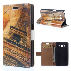 For Samsung Galaxy Core 2 Dual SIM G355H Leather Case w/ Card Slots - Retro Style Eiffel Tower