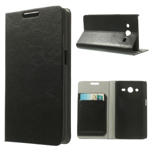 Crazy Horse Leather Card Holder Stand Case for Samsung Galaxy Core II Dual SIM G355H - Black