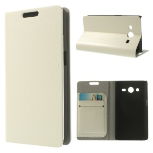 Crazy Horse Leather Card Holder Stand Case for Samsung Galaxy Core II Dual SIM G355H - White