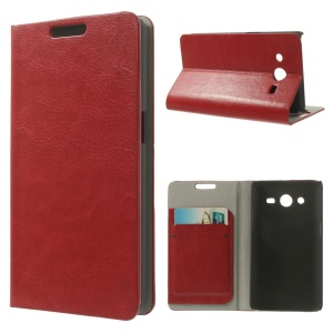 Crazy Horse Leather Card Holder Stand Case for Samsung Galaxy Core II Dual SIM G355H - Red