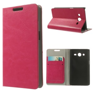 For Samsung Galaxy Core II Dual SIM G355H Crazy Horse Leather Card Holder Stand Case - Rose