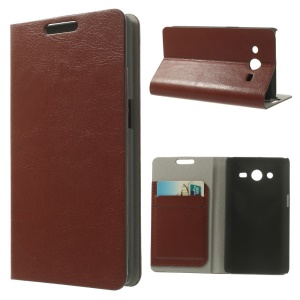 For Samsung Galaxy Core II Dual SIM G355H Crazy Horse Leather Card Holder Stand Case - Brown