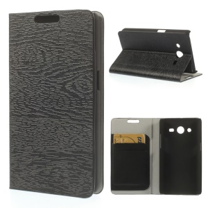 Tree Bark Textured Leather Cover w/ Stand for Samsung Galaxy Core II Dual SIM G355H - Black