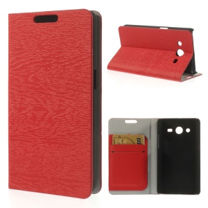 Tree Bark Textured PU Leather Stand Cover for Samsung Galaxy Core II Dual SIM G355H - Red