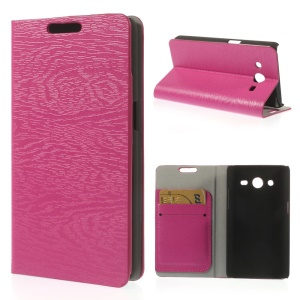 Tree Bark Textured Flip Leather Stand Case for Samsung Galaxy Core II Dual SIM G355H - Rose