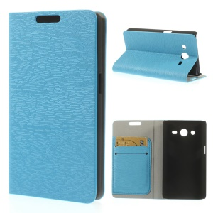 Tree Bark Textured Leather Case Card Holder for Samsung Galaxy Core II Dual SIM G355H - Blue