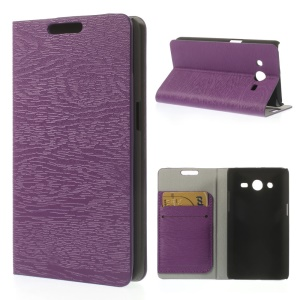 Tree Bark Textured Leather Card Slot Cover for Samsung Galaxy Core II Dual SIM G355H - Purple