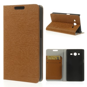 Tree Bark Textured Leather Card Slot Cover for Samsung Galaxy Core II Dual SIM G355H - Brown