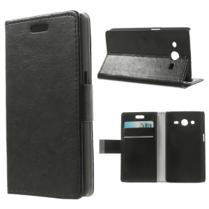 Crazy Horse Pattern Leather Card Slot Cover for Samsung Galaxy Core 2 Dual SIM G355H - Black