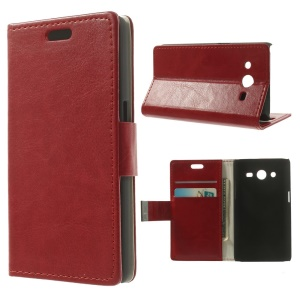 Crazy Horse Pattern for Samsung Galaxy Core 2 Dual SIM G355H Flip Leather Stand Case - Red