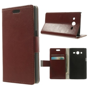 Crazy Horse Pattern for Samsung Galaxy Core 2 Dual SIM G355H Flip Leather Wallet Case - Brown