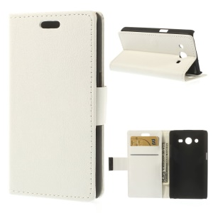 Flip Leather Wallet Stand Cover for Samsung Galaxy Core 2 Dual SIM G355H - White