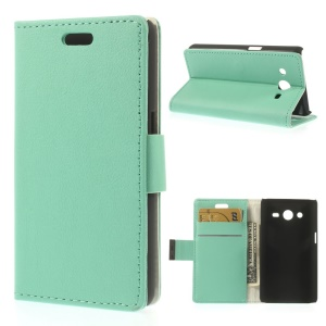 Leather Stand Cover Card Holder for Samsung Galaxy Core 2 Dual SIM G355H - Cyan
