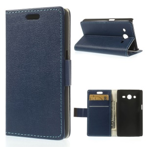 PU Leather Case Card Holder for Samsung Galaxy Core 2 Dual SIM G355H - Dark Blue
