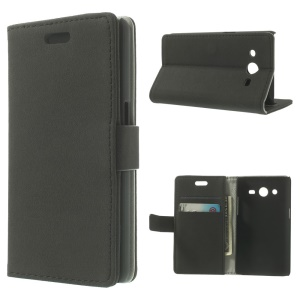 Black Pebble Grain Leather Wallet Bracket Cover for Samsung Galaxy Core II Dual SIM G355H