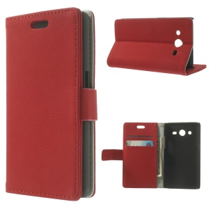 Red Pebble Grain Leather Wallet Bracket Cover for Samsung Galaxy Core II Dual SIM G355H