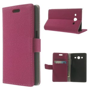 Fushia for Samsung Galaxy Core II Dual SIM G355H Pebble Grain Leather Wallet Bracket Case