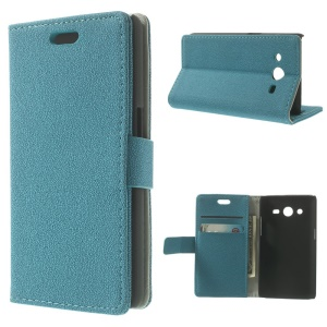 Blue for Samsung Galaxy Core II Dual SIM G355H Pebble Grain Leather Wallet Bracket Case