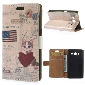 Flip Leather Case for Samsung Galaxy Core 2 Dual SIM G355H - US Flag & Cat Holding Heart