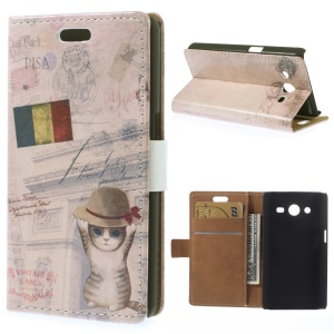 Leather Wallet Cover for Samsung Galaxy Core 2 Dual SIM G355H - France Flag & Cat in Hat