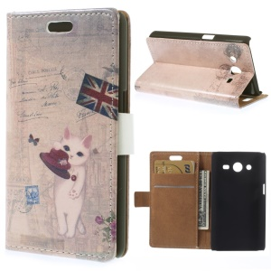 Flip Leather Cover for Samsung Galaxy Core 2 Dual SIM G355H - UK Flag & Cat Holding Hat