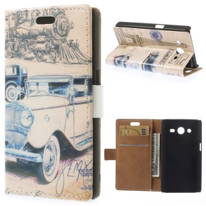 Leather Stand Cover for Samsung Galaxy Core 2 Dual SIM G355H - Vintage Car & Eiffel Tower