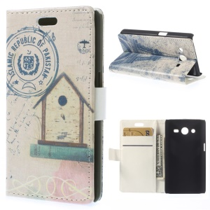 Leather Wallet Case for Samsung Galaxy Core 2 Dual SIM G355H - Birdhouse & Eiffel Tower