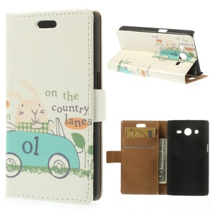 For Samsung Galaxy Core 2 Dual SIM G355H Wallet Leather Case - Rabbit on the Country Lane