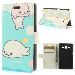 For Samsung Galaxy Core 2 G355H Wallet Leather Stand Case -  Siro-goma & Sakura-goma