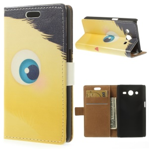 Yellow Cartoon Animal Wallet Leather Case for Samsung Galaxy Core 2 G355H w/ Stand