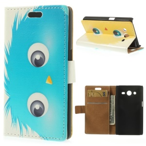 Blue Cartoon Animal Leather Wallet Case for Samsung Galaxy Core 2 G355H w/ Stand