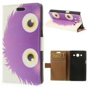 Purple Cartoon Animal Leather Wallet Case for Samsung Galaxy Core 2 G355H w/ Stand