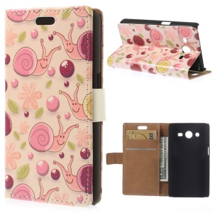 Cartoon Snails PU Leather Case for Samsung Galaxy Core 2 Dual SIM G355H - Pink Background