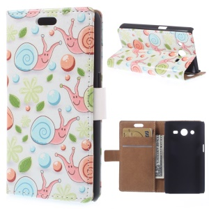 Cartoon Snails Flip Leather Case for Samsung Galaxy Core 2 Dual SIM G355H - White Background