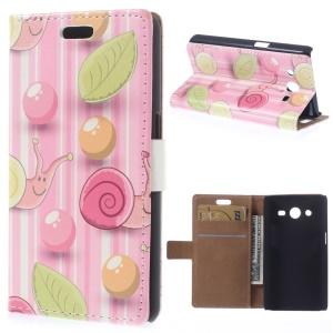 Lovely Snails Leather Wallet Case for Samsung Galaxy Core 2 Dual SIM G355H - Rose Background